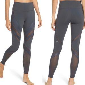 Alo Yoga Epic Tights Leggings Hi Rise Mesh Gray